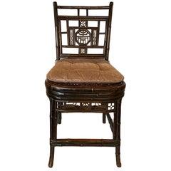 English Bamboo Brighton Regency Style Side Chair with Custom Cushion