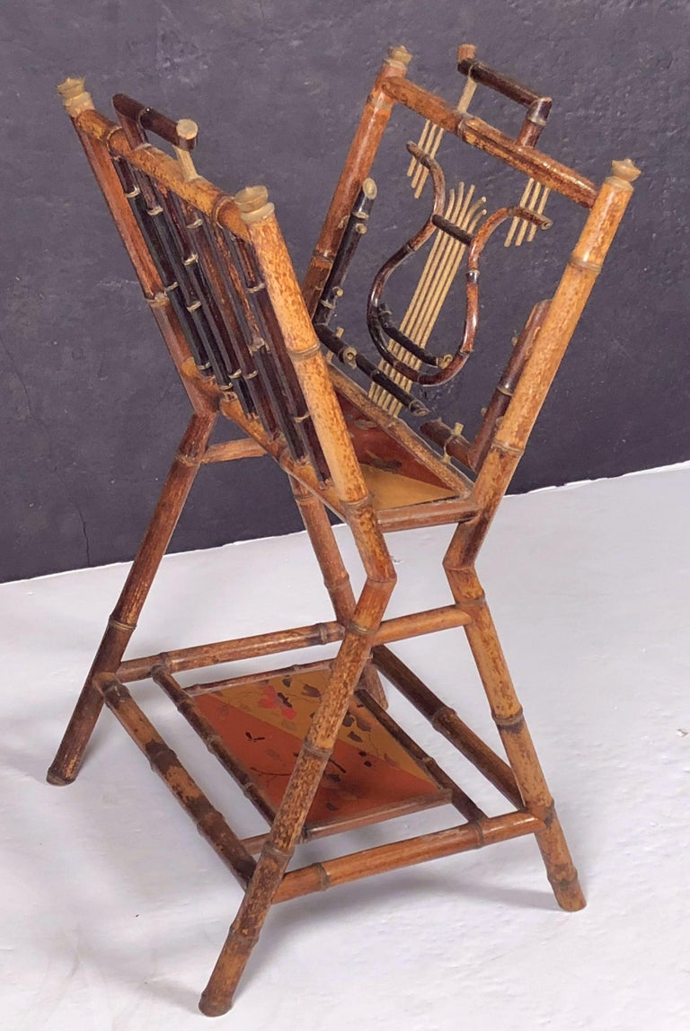 English Bamboo Canterbury Music Rack or Magazine Stand For Sale 1