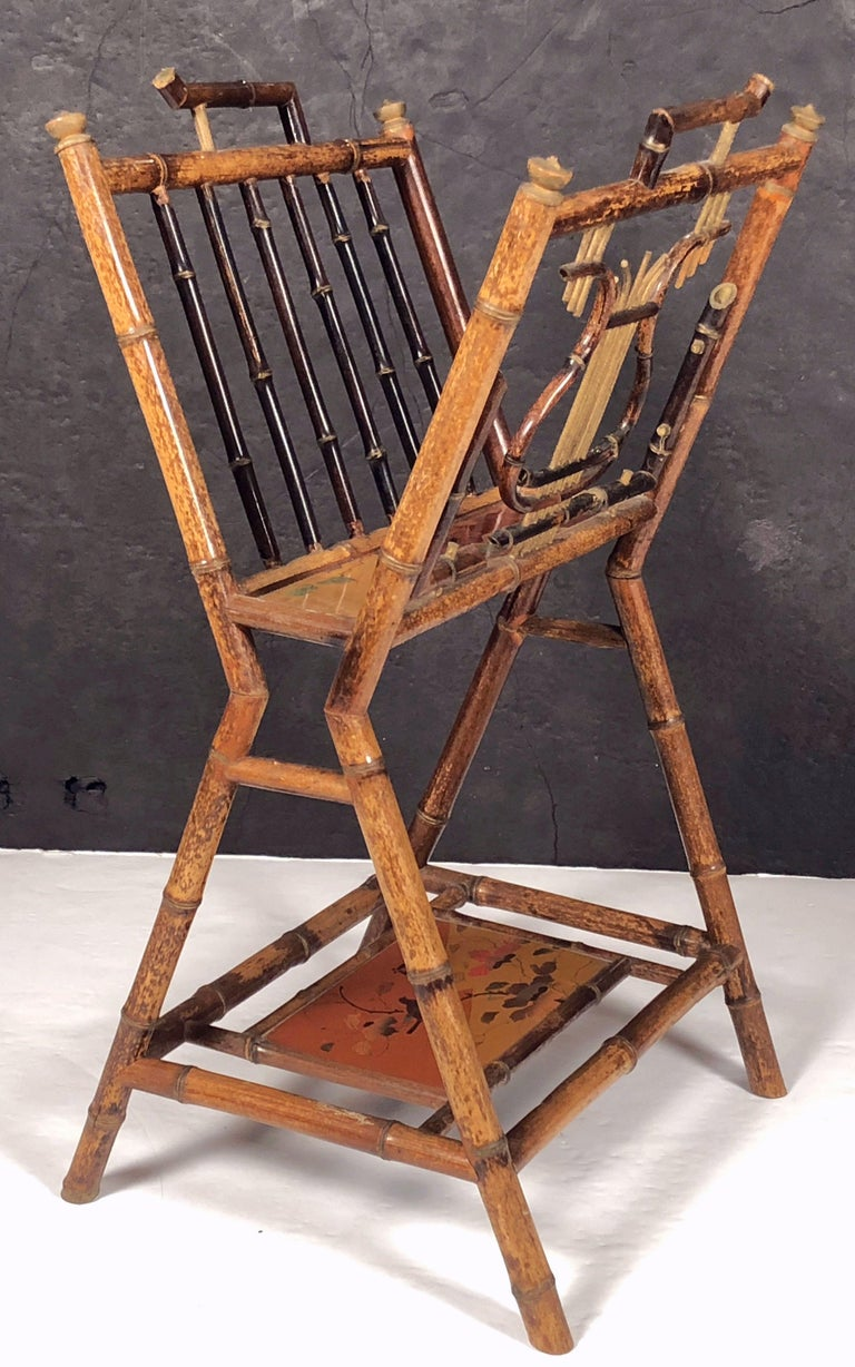 English Bamboo Canterbury Music Rack or Magazine Stand For Sale 3