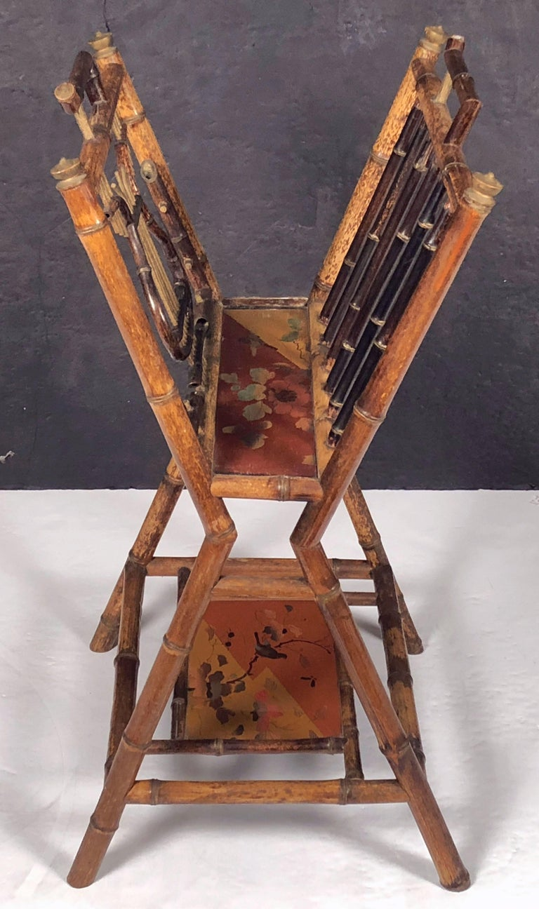 English Bamboo Canterbury Music Rack or Magazine Stand For Sale 4