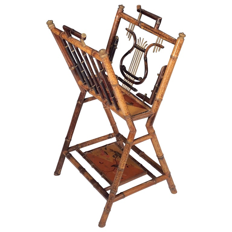 English Bamboo Canterbury Music Rack or Magazine Stand For Sale