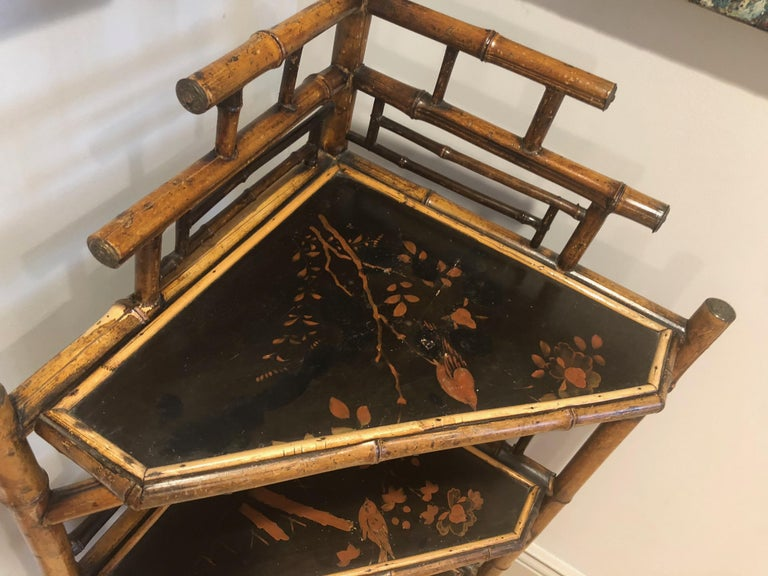 Mid-19th Century English Bamboo Corner Etagere For Sale