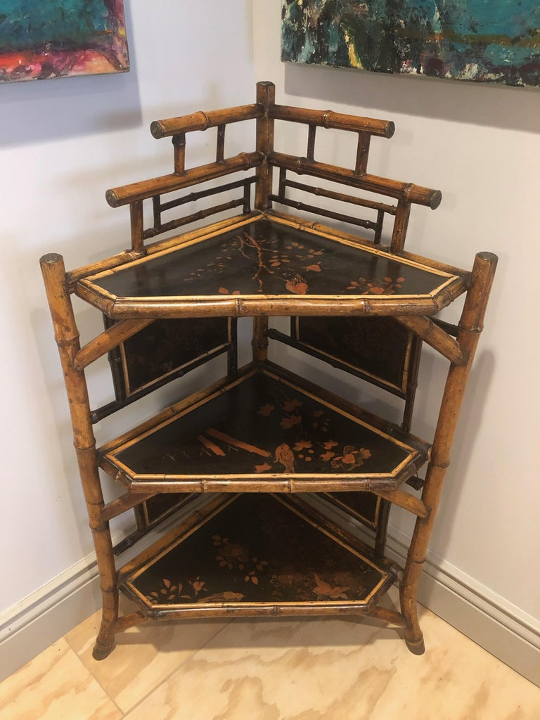 English Bamboo Corner Etagere For Sale 1