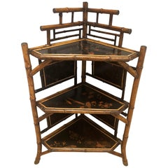 English Bamboo Corner Etagere