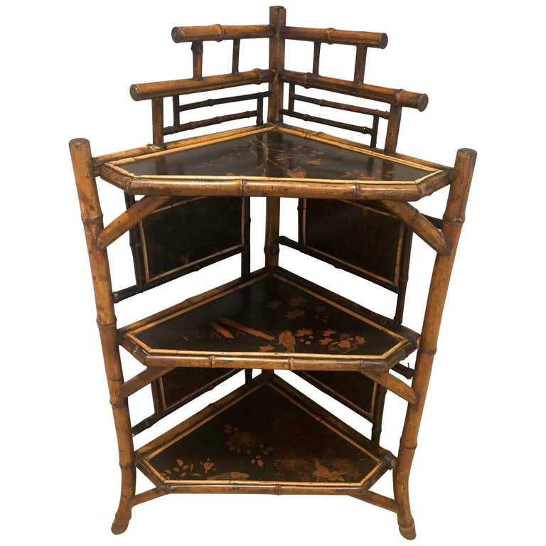 English Bamboo Corner Etagere For Sale