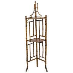 English Bamboo Corner Shelf