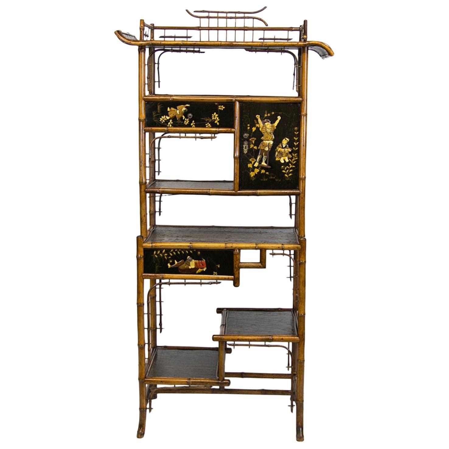 English Bamboo Display Shelf/Cabinet