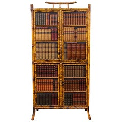 English Bamboo Leather Books Cabinet