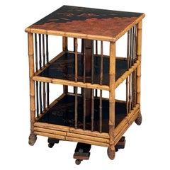 English Bamboo Revolving or Rotating Library Bookcase, circa 1870-1910