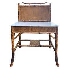 English Bamboo Washstand or Bar with White Marble Top, circa 1900