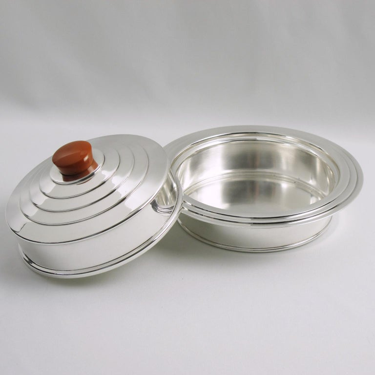 British English Barker Bros Art Deco EPNS Silver Plate and Orange Bakelite Box For Sale
