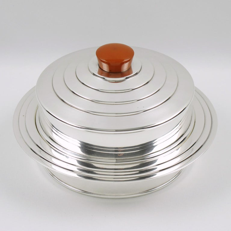 Mid-20th Century English Barker Bros Art Deco EPNS Silver Plate Bakelite Box For Sale
