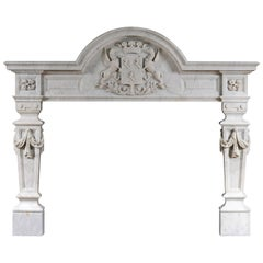 English Baroque Fireplace in Carrara Marble