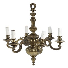 English Baroque Style Bronze Six Light Chandelier, circa 1905
