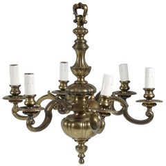 English Baroque Style Solid Bronze Six-Light Chandelier, circa 1905