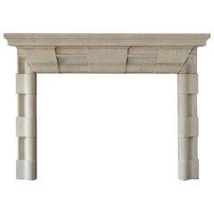 English Baroque Style Stone Fireplace