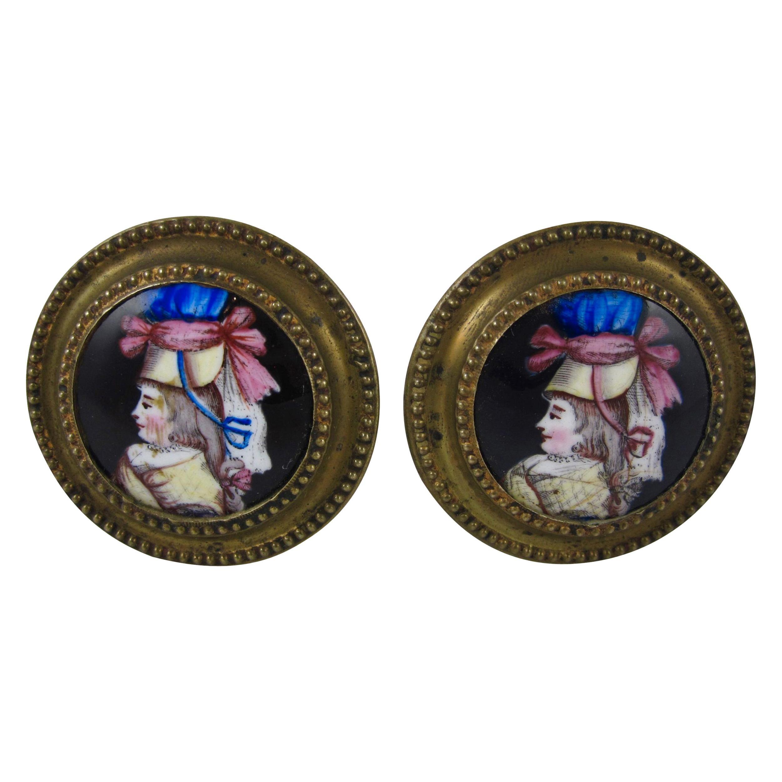 English Battersea Enamel Womans Portrait Tiebacks or Mirror Picture Hangers S/2