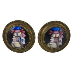 English Battersea Enamel Womans Portrait Tiebacks or Mirror Picture Supports S/2