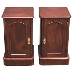 English Bedside Chests or Cabinet Nightstands of Mahogany, Priced as a Pair