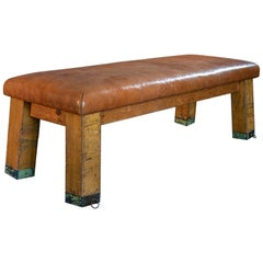 English Beech Vaulting Bench/Coffee Table in Cognac Leather, Early 20th Century