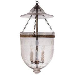 Antique Bell Jar Lantern with Etched Leaf Motif