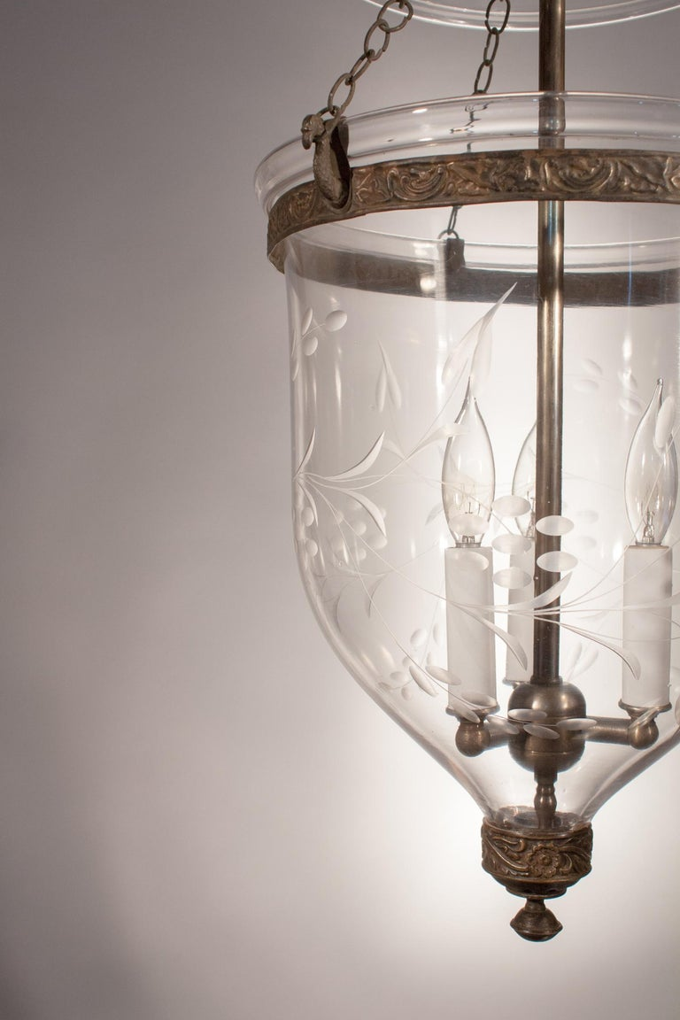 Victorian English Bell Jar Lantern with Vine Etching For Sale