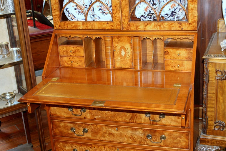 English Bench-Made Inlaid Burr Elm Chippendale Style Bureau Bookcase/ Secretary For Sale 11