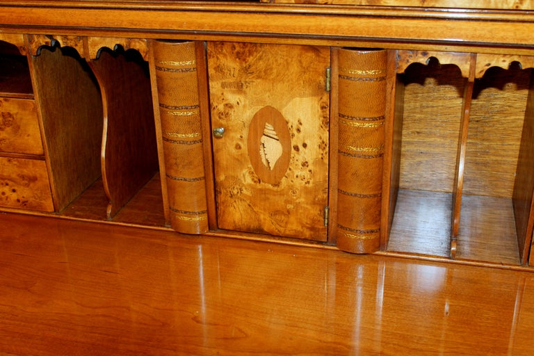 English Bench-Made Inlaid Burr Elm Chippendale Style Bureau Bookcase/ Secretary For Sale 13
