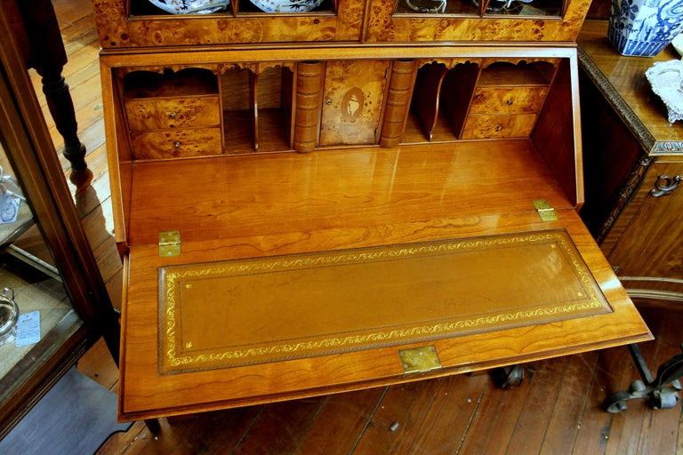 English Bench-Made Inlaid Burr Elm Chippendale Style Bureau Bookcase/ Secretary For Sale 14