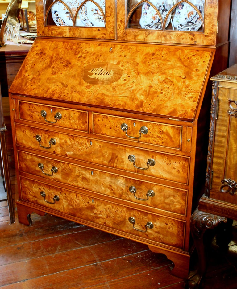 English Bench-Made Inlaid Burr Elm Chippendale Style Bureau Bookcase/ Secretary In New Condition For Sale In Charleston, SC