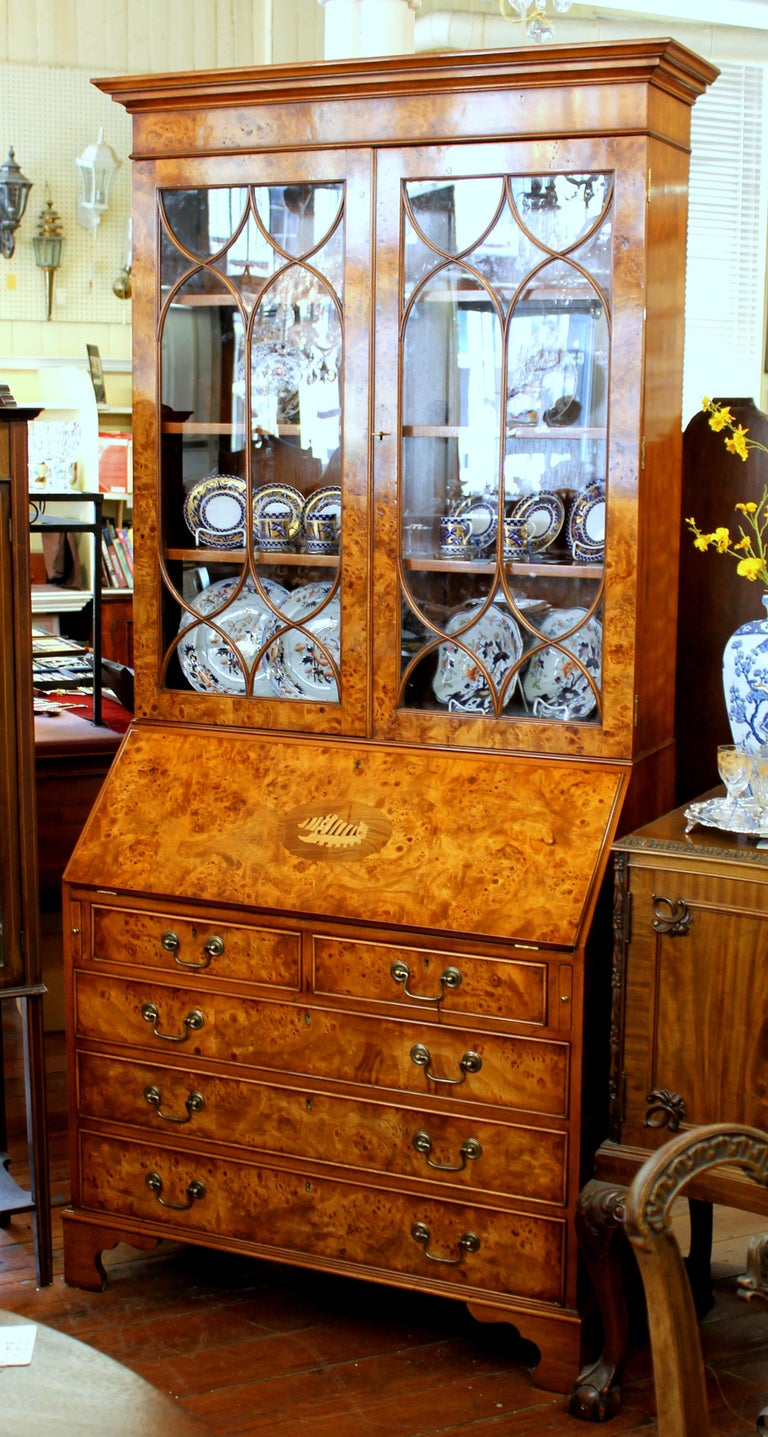 Contemporary English Bench-Made Inlaid Burr Elm Chippendale Style Bureau Bookcase/ Secretary For Sale