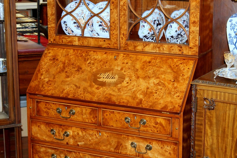English Bench-Made Inlaid Burr Elm Chippendale Style Bureau Bookcase/ Secretary For Sale 3