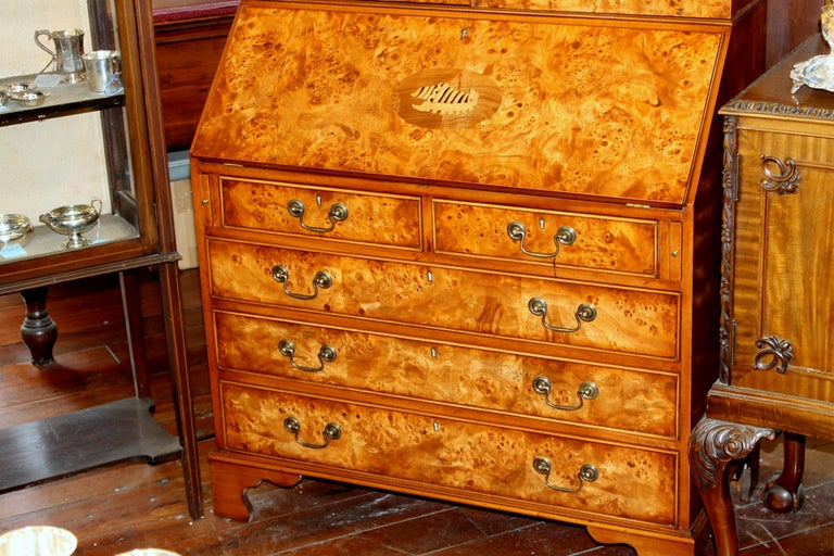 English Bench-Made Inlaid Burr Elm Chippendale Style Bureau Bookcase/ Secretary For Sale 4