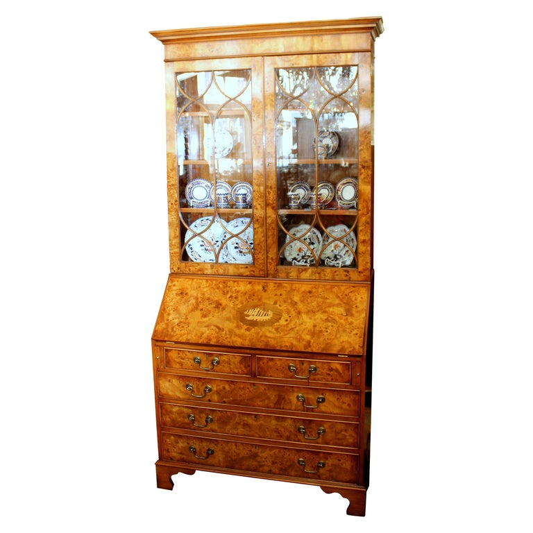 English Bench-Made Inlaid Burr Elm Chippendale Style Bureau Bookcase/ Secretary For Sale