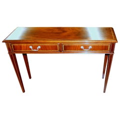 English Bench Made Inlaid Flame Mahogany Two-Drawer Side Table or Narrow Console