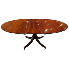 English Bench Made Regency Style Oval Mahogany Extending Dining Table