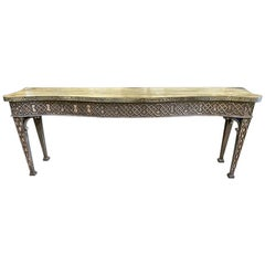English Benchmade Chippendale Georgian Style Serpentine Serving Table