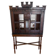 English Birdcage Made from Wood with Date 1740