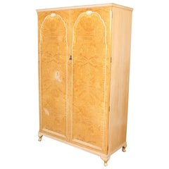 English Bird's-Eye Maple Wardrobe Fitted Armoire
