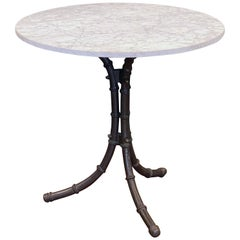 English Bistro or Pub Table of Cast Iron with Marble Top