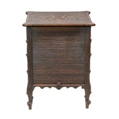English Black Forest Style Tambour Cabinet