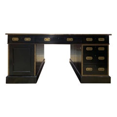 English Black Lacquer Campaign Style Partners Desk, Leather Top, circa 1850-1900