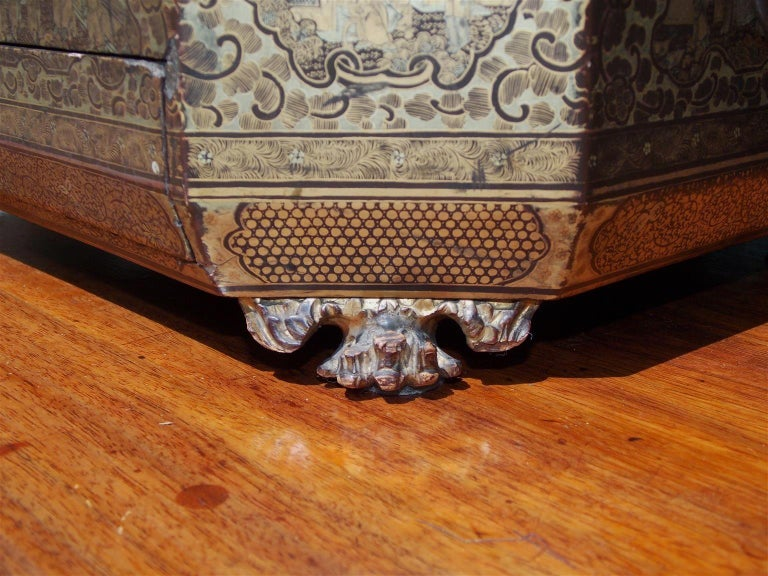 English Lacquered and Gilt Stenciled Figural Pagoda Sewing Box, circa 1810  For Sale 4