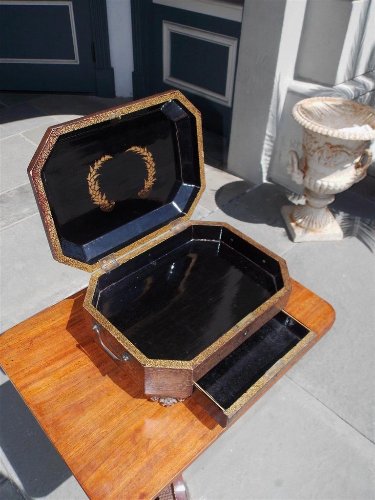 Brass English Black Lacquered and Gilt Stenciled Figural Pagoda Sewing Box, C. 1810  For Sale