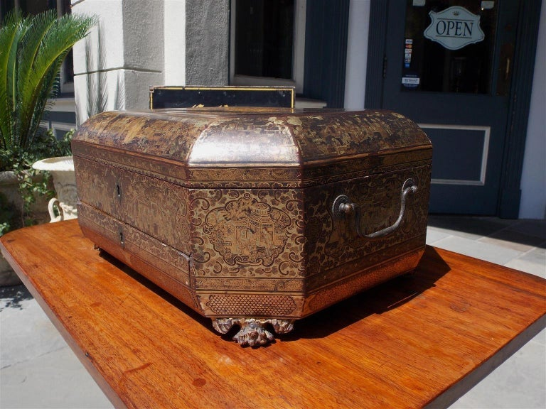 English Lacquered and Gilt Stenciled Figural Pagoda Sewing Box, circa 1810  For Sale 3