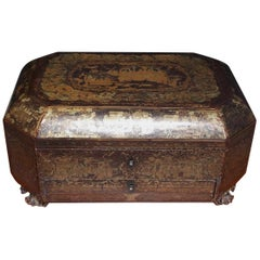 English Lacquered and Gilt Stenciled Figural Pagoda Sewing Box, circa 1810