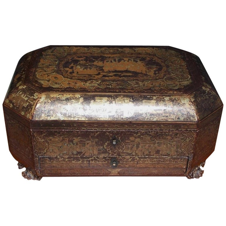 English Black Lacquered and Gilt Stenciled Figural Pagoda Sewing Box, C. 1810  For Sale