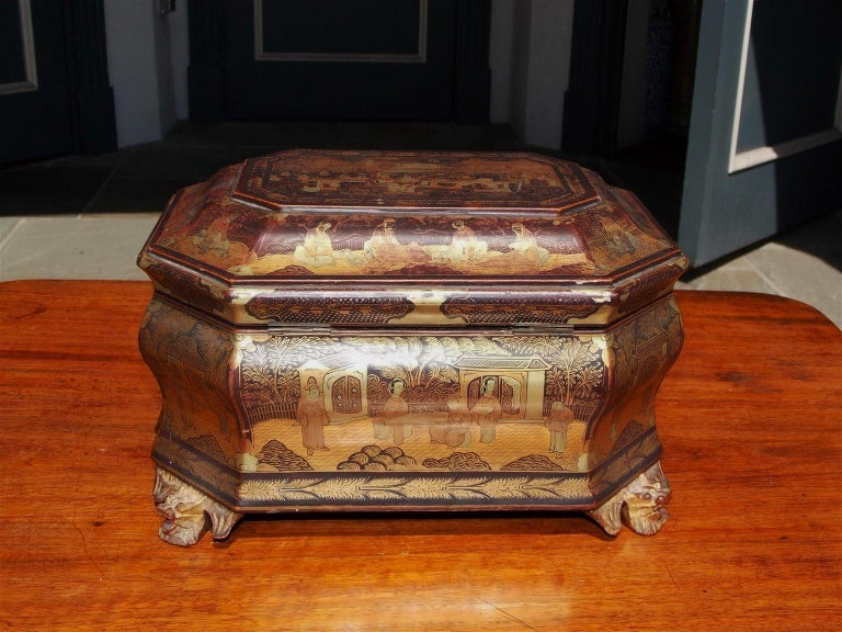 English Black Lacquered and Gilt Stenciled Figural Pagoda Tea Caddy, circa 1810 For Sale 3
