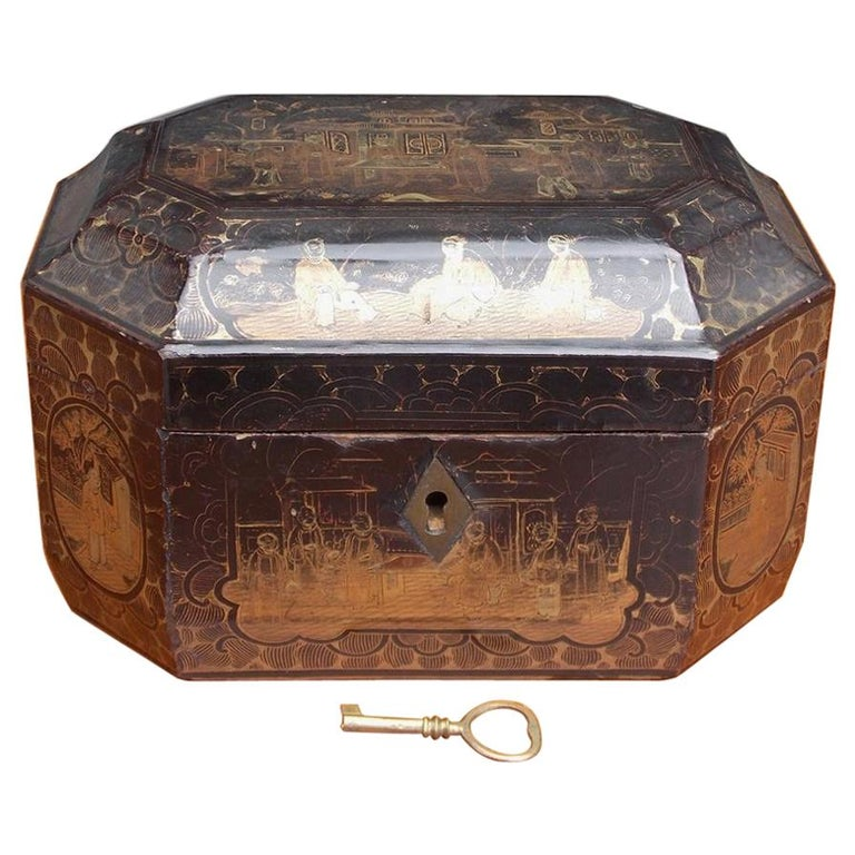 English Black Lacquered and Gilt Stenciled Figural Pagoda Tea Caddy, Circa 1810 For Sale
