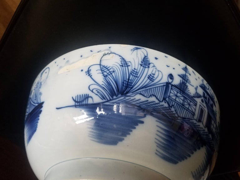 18th Century English Blue and White Pearlware Pottery Chinoiserie Bowl, 1790 For Sale